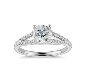 Split Shank Pave Engagement Ring w/Side Diamonds