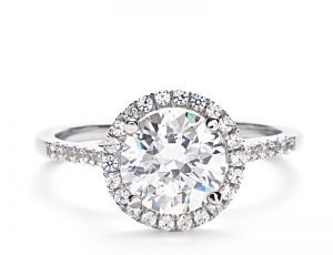 Halo Engagement Ring w/side diamonds
